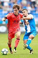 Deportivo de la Coruna's Zakaria Bakkali (r) and Real Sociedad's Alvaro Odriozola during La Liga match. September 10,2017.  *** Local Caption *** © pixathlon<br /> Contact: +49-40-22 63 02 60 , info@pixathlon.de