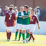 30.06.18 Linlithgow Rose v Hibs: Danny Swanson applauds the Hibs fans