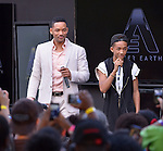 MIAMI, FL - MAY 16: Will Smith and son Jaden Smith attend the AFTER EARTH Day at Miami Science Museum and Planetarium on May 16, 2013 in Miami, Florida. (Photo by Johnny Louis/jlnphotography.com)