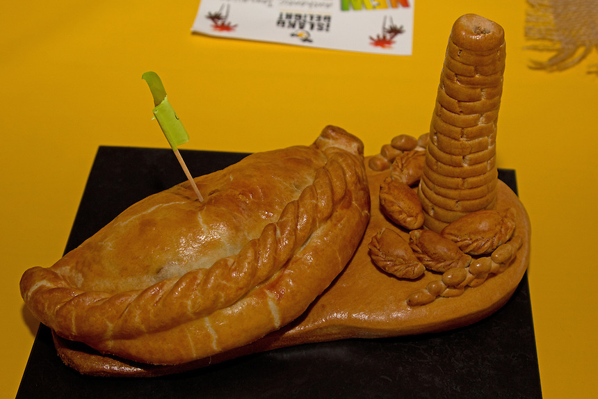 One of the 150 pasties submitted to the World Pasty Championships, showing a mining tower, which are littered across the Cornish landascape, at the Eden Project, Cornwall, 28.02.2015.