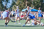 Santa Barbara, CA 02/13/10 - Taylor Leffler (Florida # 13),Casey Kriebel (Florida # 30) and Ashley Antoon-Algieri (UCSB # 36) in action during the UCSB-Florida game at the 2010 Santa Barbara Shoutout, UCSB defeated Florida 9-8.