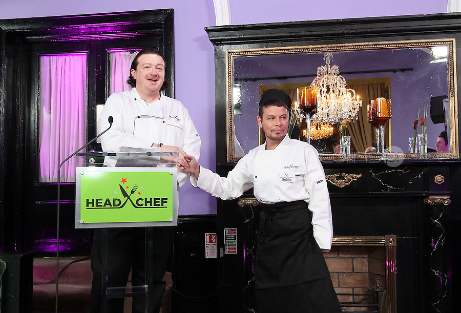 21/06/'11 Chef Conrad Gallagher of TV3's Celebrity Head Chef series pictured with contestant Kohlin Harris in his  'Dining Room' Restaurant...NO REPRODUCTION FEE PIC...Picture Colin Keegan, Collins, Dublin.