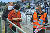 Every supporter had a specific place to sit during a female soccer game between  AA Gent Ladies and Eendracht Aalst on the second matchday of the 2020 - 2021 season of Belgian Scooore Womens SuperLeague , friday 4 th of september 2020  in Oostakker , Belgium . PHOTO SPORTPIX.BE | SPP | STIJN AUDOOREN