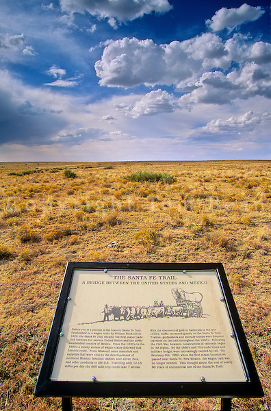Historical marker along Old Santa Fe Trail on Great Plains west of Boise City, Oklahoma, AGPix_0346.