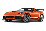 Stock pictures of low aggressive front three quarter view of a 2019 Chevrolet Corvette ZR1 3 Door Targa