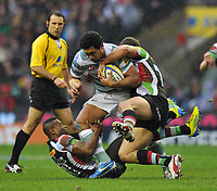 Chris Hala'ufia is double-tackled. Big Game 5 Aviva Premiership match, between Harlequins and London Irish on December 29, 2012 at Twickenham Stadium in London, England. Photo by: Patrick Khachfe / Onside Images