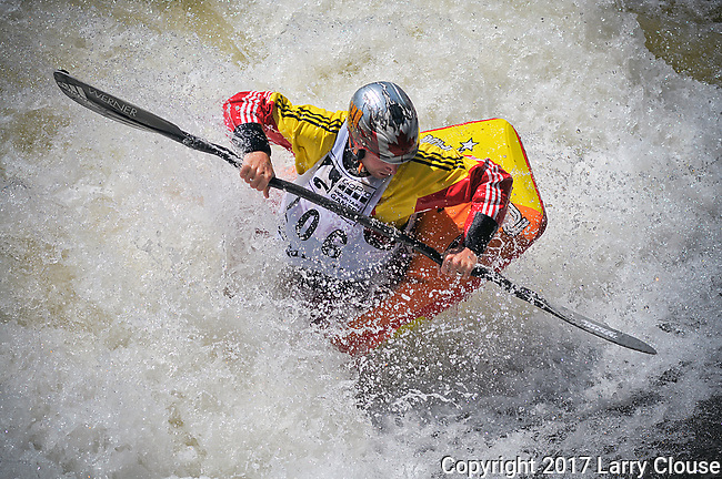 June 9, 2017 - Vail, Colorado, U.S. - Canada's, Nick Troutman, works for a place in the final round in the Freestyle Kayak competition during the GoPro Mountain Games, Vail, Colorado.  Adventure athletes from around the world meet in Vail, Colorado, June 8-11, for America's largest celebration of mountain sports, music, and lifestyle.