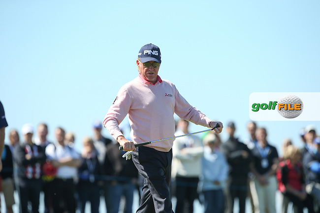 A frustrated Miguel Angel Jimenez (ESP) missed the cut by one shot during Round Two of the 2015 Nordea Masters at the PGA Sweden National, Bara, Malmo, Sweden. 05/06/2015. Picture David Lloyd | www.golffile.ie