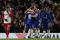 Cesc Fabregas congratulates Eden Hazard after scoring Chelsea's third goal during Chelsea vs West Bromwich Albion, Premier League Football at Stamford Bridge on 12th February 2018