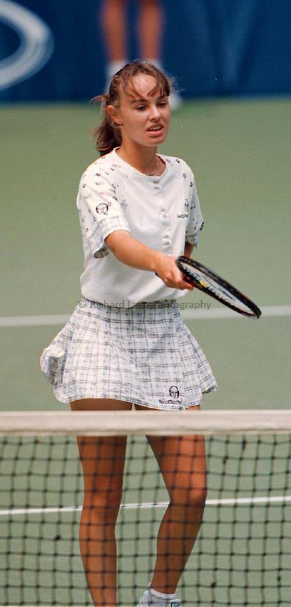 Photo. Abbey Wells.Austrailan Open, Melbourne, Austraila. 1996.Martina Hingis argues