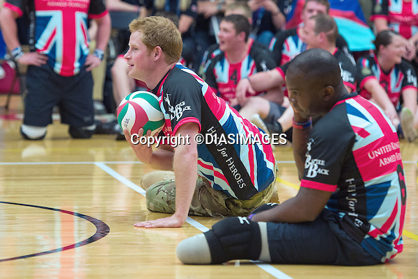"PRINCE HARRY.participates in the seating volleyball competition as a member of the British team during the Warrior Games in Colorado Springs, Olympic Park_11/05/2013.Prince Harry is on a week long USA visit the includes Washington, Denver, Colorado Springs, New Jersey, New York and Conneticut..Mandatory credit photo:©DIASIMAGES..NO UK SALES FOR 28 DAYS.(Failure to credit will incur a surcharge of 100% of reproduction fees)..**ALL FEES PAYABLE TO: ""NEWSPIX  INTERNATIONAL""**..Newspix International, 31 Chinnery Hill, Bishop's Stortford, ENGLAND CM23 3PS.Tel:+441279 324672.Fax: +441279656877.Mobile:  07775681153.e-mail: info@newspixinternational.co.uk"