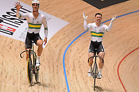 MATTHEW GLAETZER and SHANE PERKINS of the Australian team celebrate winning the Team Sprint on day 1 of the 2012 UCI Track Cycling World Championships at Hisense Arena in Melbourne, Australia. Photo Sydney Low. Copyright Sydney Low. All rights reserved. No reproduction permitted. Access via FlickrAPI not permitted.