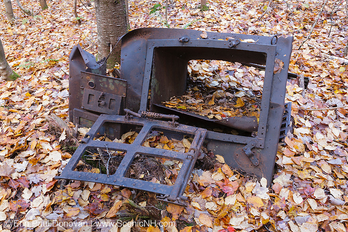 Cooking stove, a protected artifact, at the old Draper Corporation Camp along the Beebe River Railroad (1917-1942) in Sandwich, New Hampshire. This camp was located near the old Carters Mill site. The removal of historical artifacts from federal lands without a permit is a violation of federal law.