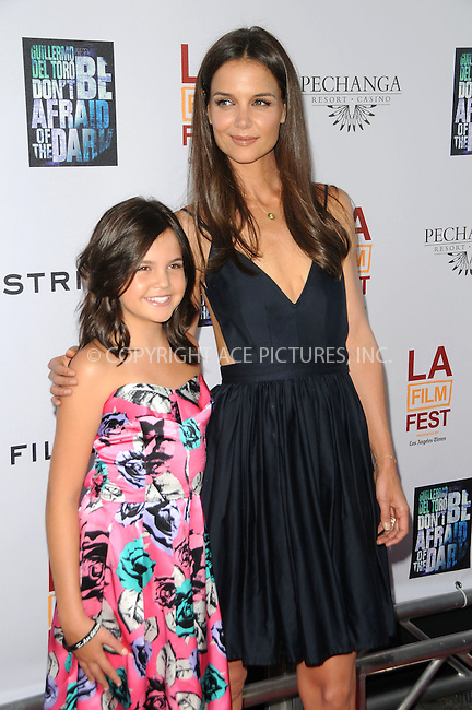 WWW.ACEPIXS.COM . . . . .  ....June 26 2011, Los Angeles....Actress Bailee Madison and actress Katie Holmes arriving at the 2011 Los Angeles Film Festival Closing Night Premiere 'Dont Be Afraid Of The Dark' at Regal Cinemas L.A. Live on June 26, 2011 in Los Angeles, California. ....Please byline: PETER WEST - ACE PICTURES.... *** ***..Ace Pictures, Inc:  ..Philip Vaughan (212) 243-8787 or (646) 679 0430..e-mail: info@acepixs.com..web: http://www.acepixs.com