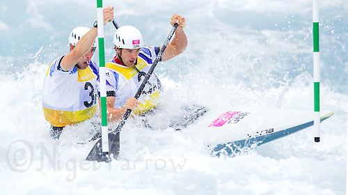 02 AUG 2012 - CHESHUNT, GBR - Etienne Stott (GBR) (left) and Tim Baillie (GBR) (right) of Great Britain make their final run in the men's Canoe Double (C2) during the London 2012 Olympic Games final at Lee Valley White Water Centre, Cheshunt, Great Britain .(PHOTO (C) 2012 NIGEL FARROW)