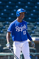 Kansas City Royals right fielder Seuly Matias (17) at bat during an Instructional League game against the Cincinnati Reds on October 2, 2017 at Surprise Stadium in Surprise, Arizona. (Zachary Lucy/Four Seam Images)