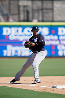 New York Yankees Nelson Gomez (50) throws to first base during a Florida Instructional League game against the Philadelphia Phillies on October 12, 2018 at Spectrum Field in Clearwater, Florida.  (Mike Janes/Four Seam Images)