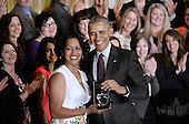 United States President Barack Obama honors the 2016 National Teacher of the Year Jahana Hayes of Connecticut and finalists during an event in the East Room of the White House on May 3, 2016 in Washington D.C. <br /> Credit: Olivier Douliery / Pool via CNP