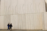 Outside wall featuring impressions of wood at the new Scottish Parliament building at Holyrood, Edinburgh.  Designed by Spanish architect, Enric Miralles.