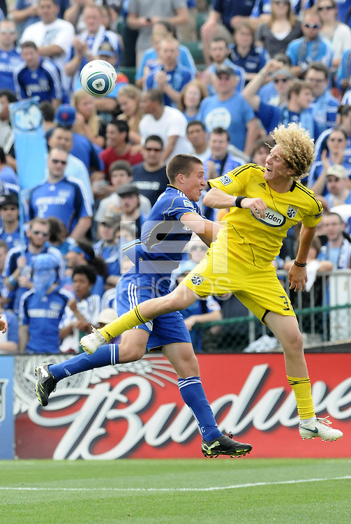 Matt Besler, Steven Lenhart (yellow)...Kansas City Wizards were defeated 1-0 by Columbus Crew at Community America Ballpark, Kansas City, Kansas.