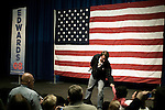 January 24, 2008. Greenwood, SC.. Presidential candidate and former US senator, John Edwards campaigned across the western part of South Carolina today in an effort to shore up support before Saturday's primary election.. Edwards heads to the stage at an event at Lander University in Greenwood, SC.