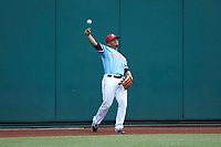 Columbus Clippers left fielder Francisco Mejia (12) throws the baseball back towards the infield during the game against the Indianapolis Indians at Huntington Park on June 17, 2018 in Columbus, Ohio. The Indians defeated the Clippers 6-3.  (Brian Westerholt/Four Seam Images)
