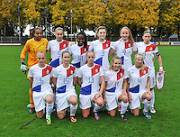 20131011 - SCHWEINFURT , GERMANY :  Dutch Team Holland pictured with Paulina Quaye (1) , Lysanne Van Der Wal (5) , Lindsey Keizerweerd (18) , Vita Van der Linden (3) , Lisanne Van Gurp (9) , Michelle Hendriks (8) , Cheyenne Van de Goorbergh (6) , Sisca Folkertsma (15) , Nadine Fritschy (13) , Suzanne Admiraal (11) and Maureen Sanders (4) during the female soccer match between Belgium Women U17 and The Netherlands U17 , in the first game of the Elite round in group6 in the UEFA European Women's Under 17 competition 2013 in the Willy Sachs Stadium - Schweinfurt. Friday 11 October 2013. PHOTO DAVID CATRY