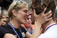 Peter Sagan (SVK/Tinkoff-Saxo) is met by his fiancé Katarina Smolkova after the finish line where an emotional/intimate embrace follows<br /> <br /> Elite Men Road Race<br /> UCI Road World Championships Richmond 2015 / USA
