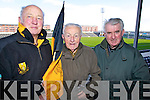 Fr Paddy O'Donoghue, John Galvin and Fr Micheál Ó Dochartaigh, Dr Crokes fans pictured at the All Ireland semi-final held in Portlaoise on Saturday.