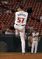 September 15, 2004:  Jake Robbins of the Buffalo Bisons, International League (AAA) affiliate of the Cleveland Indians, during a game at Dunn Tire Park in Buffalo, NY.  Photo by:  Mike Janes/Four Seam Images