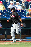 Louisville Cardinals infielder Alex Chittenden #4 runs during Game 5 of the 2013 Men's College World Series between the Oregon State Beavers and Louisville Cardinals at TD Ameritrade Park on June 17, 2013 in Omaha, Nebraska. The Beavers defeated the Cardinals 11-4. (Brace Hemmelgarn/Four Seam Images)
