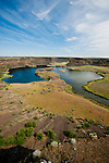 Lakes and cliffs at the Dry Falls of the Columbia River at the head of Lower Grand Coulee.