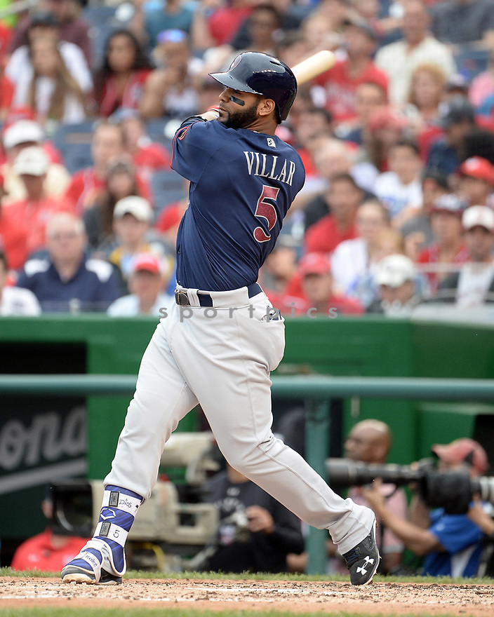 Milwaukee Brewers Jonathan Villar (5) during a game against the Washington Nationals on July 4, 2016, at Nationals Park in Washington DC. The Brewers beat the Nationals 1-0.