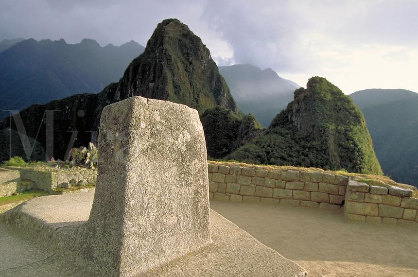South America ; travel ; Inca ; ruins ; tourist ; Hitching Post of the Sun ; astronomy ;. Machu Picchu, Peru.