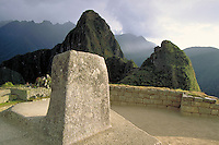 South America ; travel ; Inca ; ruins ; tourist ; Hitching Post of the Sun ; astronomy ;. Machu Picchu, Peru.