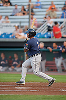 Connecticut Tigers designated hitter Randel Alcantara (1) hits a single a game against the Auburn Doubledays on August 9, 2017 at Falcon Park in Auburn, New York.  Connecticut defeated Auburn 6-4.  (Mike Janes/Four Seam Images)