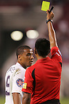11 March 2008: Charlie Davies (USA) (9) receives a yellow card from Referee Walter Lopez (GUA). The United States U-23 Men's National Team tied the Cuba U-23 Men's National Team 1-1 at Raymond James Stadium in Tampa, FL in a Group A game during the 2008 CONCACAF's Men's Olympic Qualifying Tournament.