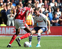 Nottingham Forest's Sammy Ameobi takes on Preston North End's Alan Browne<br /> <br /> Photographer David Shipman/CameraSport<br /> <br /> The EFL Sky Bet Championship - Nottingham Forest v Preston North End - Saturday 31st August 2019 - The City Ground - Nottingham<br /> <br /> World Copyright © 2019 CameraSport. All rights reserved. 43 Linden Ave. Countesthorpe. Leicester. England. LE8 5PG - Tel: +44 (0) 116 277 4147 - admin@camerasport.com - www.camerasport.com
