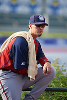 Hagerstown Suns pitching coach Sam Narron (43) in the bullpen before a game against the Lexington Legends on May 22, 2015 at Whitaker Bank Ballpark in Lexington, Kentucky.  Lexington defeated Hagerstown 5-1.  (Mike Janes/Four Seam Images)