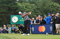 Tony Finau (USA) on the 12th tee during 1st round of the 148th Open Championship, Royal Portrush golf club, Portrush, Antrim, Northern Ireland. 18/07/2019.<br /> Picture Thos Caffrey / Golffile.ie<br /> <br /> All photo usage must carry mandatory copyright credit (© Golffile | Thos Caffrey)