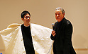 "March 15, 2016, Tokyo, Japan - Japanese fashion designer Issey Miyake speaks before press prior to his exhibition ""The Work of Miyake Issey"" at the National Art Center in Tokyo on Tuesday, March 15, 2016. Over 100 creations of Issey Miyake are exhibited at the museum from March 16 through June 13.  (Photo by Yoshio Tsunoda/AFLO) LWX -ytd-"