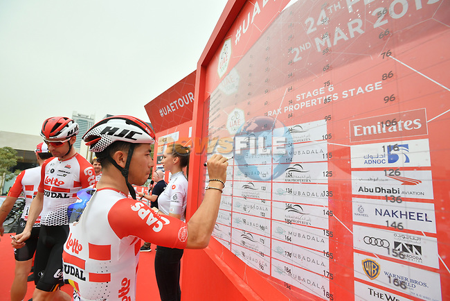 Caleb Ewan (AUS) Lotto-Soudal signs on before the start of Stage 6 of the 2019 UAE Tour, running 175km form Ajman to Jebel Jais, Dubai, United Arab Emirates. 1st March 2019.<br /> Picture: LaPresse/Massimo Paolone | Cyclefile<br /> <br /> <br /> All photos usage must carry mandatory copyright credit (© Cyclefile | LaPresse/Massimo Paolone)