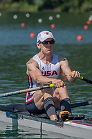 """Lucerne, SWITZERLAND, 13th July 2018, Friday, """"USA LM1X"""", """"Alex  TWIST"""", Start Area, FISA World Cup series, No.3, Lake Rotsee, © Peter SPURRIER,"""
