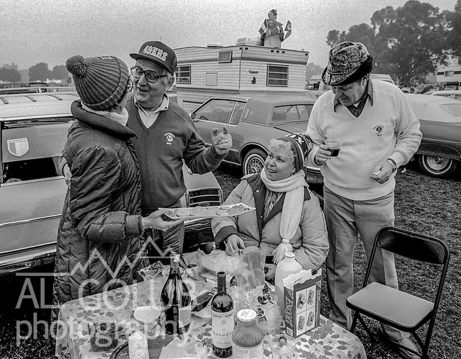 49ers fans eat and drink before the game at the Super Bowl XIX tailgate on the Stanford University campus. The San Francisco 49ers defeated the Miami Dolphins 38-16 on Sunday, January 20, 1985.