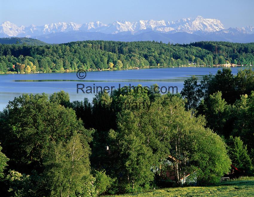 Germany, Bavaria, Upper Bavaria, Woerth Lake, view towards monastery Andechs, Alps, panorama