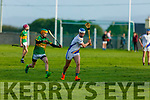 Tralee Parnells Niall Cassidy under pressure from Edward Sheehy of Lixnaw in the U16 Hurling plate final.