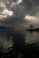 Stormy clouds over lake Léman, Vevay, close to Montreux,Lausanne, Switzerland.