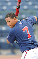 10 April 2008: Infielder Diory Hernandez (7) of the Mississippi Braves, Class AA affiliate of the Atlanta Braves, in a game against the Mobile BayBears at Trustmark Park in Pearl, Miss. Photo by:  Tom Priddy/Four Seam Images