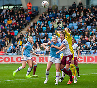 17th November 2019; Academy Stadium, Manchester, Lancashire, England; The FA's Women's Super League, Manchester City Women versus West Ham United Women; Goalkeeper Anna Moorhouse of West Ham Women makes a save in a crowded box - Editorial Use