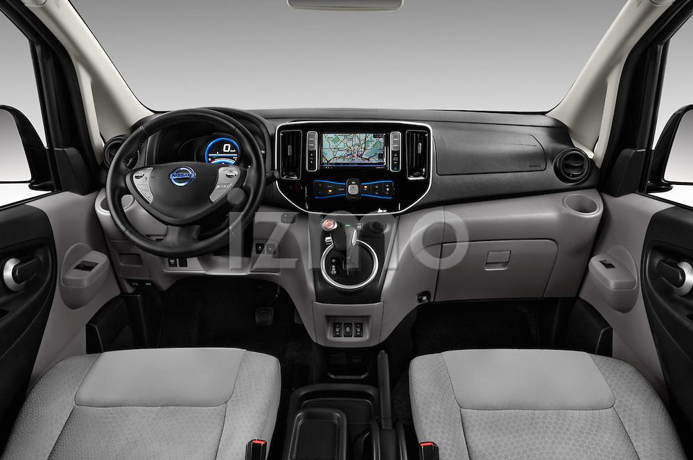 Stock photo of straight dashboard view of 2016 Nissan E-Nv200-Evalia Connect-Edition 5 Door Mini MPV Dashboard